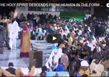 GOD THE HOLY SPIRIT DESCENDS FROM HEAVEN IN THE FORM OF A DOVE & LIGHTS ON HIS SERVANT