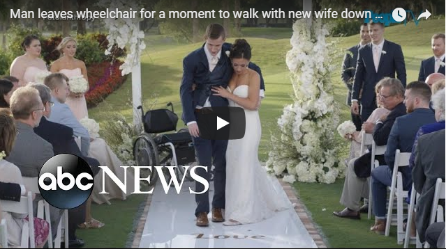 Man leaves wheelchair for a moment to walk with new wife down aisle | abc News