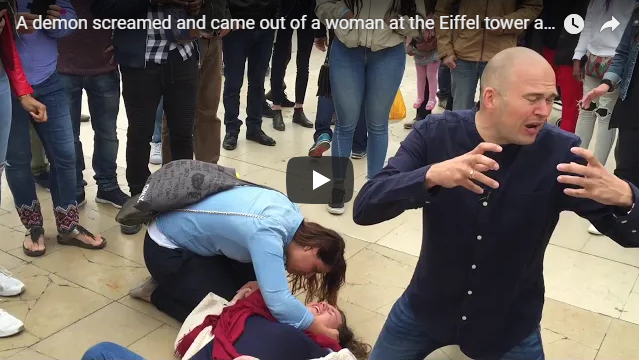 A demon screamed and came out of a woman at the Eiffel tower and the Police was afraid and left.