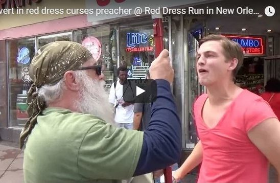 Pervert in red dress curses preacher @ Red Dress Run in New Orleans