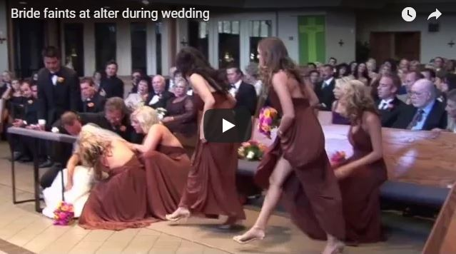 Bride faints at alter during wedding
