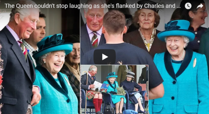 The Queen couldn't stop laughing as she's flanked by Charles and Anne for Highland Games