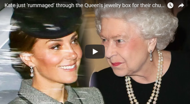 Kate just 'rummaged' through the Queen's jewelry box for their church outing in Scotland