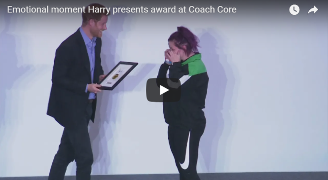 Emotional moment Harry presents award at Coach Core