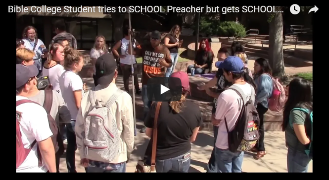 Bible College Student tries to SCHOOL Preacher but gets SCHOOLED!