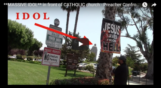**MASSIVE IDOL** in front of CATHOLIC church – Preacher Confronts!