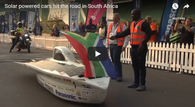 Solar powered cars hit the road in South Africa