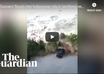 Tsunami floods into Indonesian city in terrifying new footage