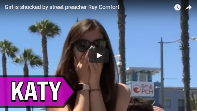Girl is shocked by street preacher Ray Comfort