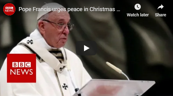 Pope Francis urges peace in Christmas message – BBC News