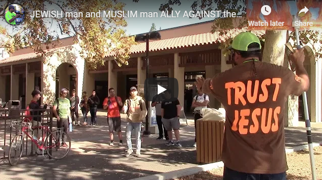 JEWISH man and MUSLIM man ALLY AGAINST the Christian Preacher!!