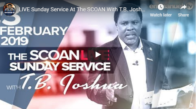 LIVE Sunday Service At The SCOAN With T.B. Joshua (03/02/19)