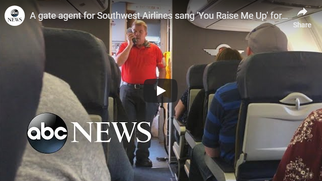 A gate agent for Southwest Airlines sang 'You Raise Me Up' for a mourning mother