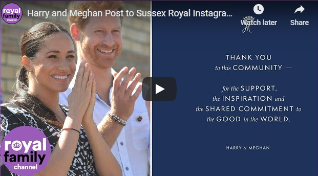 Harry and Meghan Post to Sussex Royal Instagram for Final Time