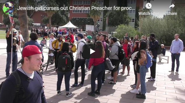 Jewish girl curses out Christian Preacher for proclaiming JESUS as the Messiah!