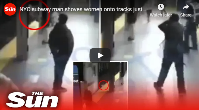 subway man shoves women onto tracks just as train pulls in